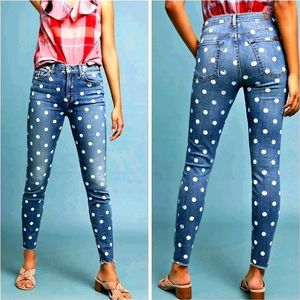 7FAM For ANTHRO Hi-Rise Dot Raw Lux Super Skinny